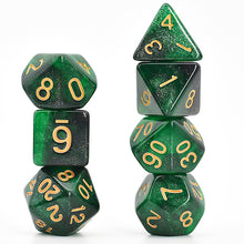 Load image into Gallery viewer, Galaxy Green / Black -  RPG Dice Set, CritKit