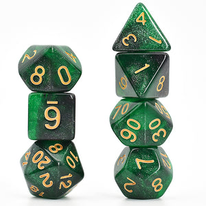 Galaxy Green / Black -  RPG Dice Set, CritKit