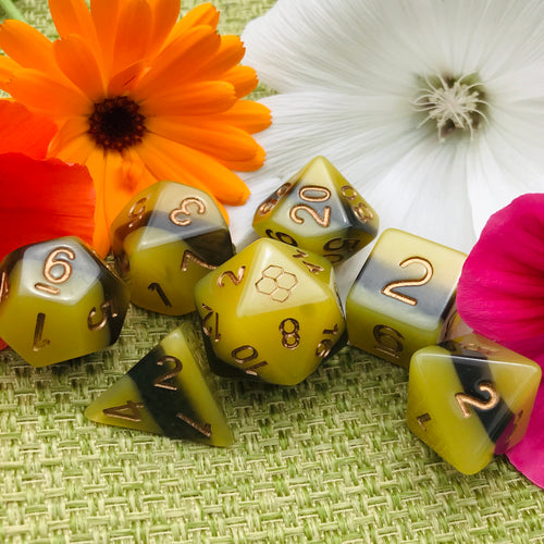 Polynation - Bee Themed Dice (Limited Edition) -  RPG Dice Set, CritKit