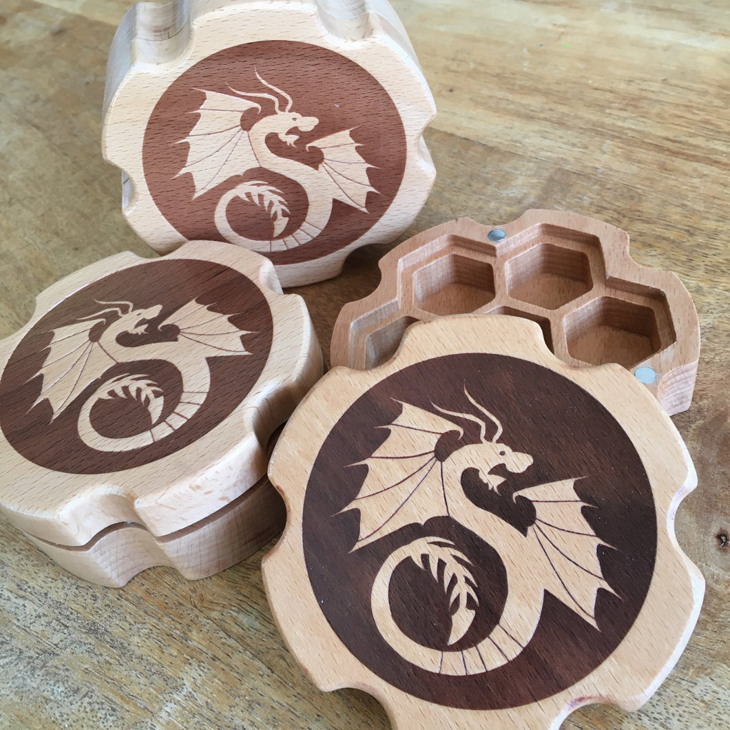 Draconic Machine - wooden dice box -  RPG Dice Set, CritKit