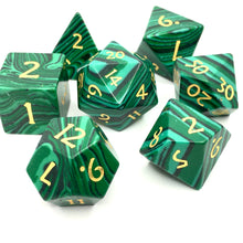Load image into Gallery viewer, Malachite Gemstone Dice -  RPG Dice Set, CritKit
