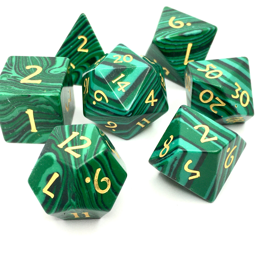 Malachite Gemstone Dice -  RPG Dice Set, CritKit