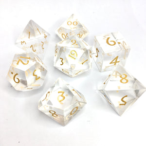 Transparent Glass Gemstone Dice -  RPG Dice Set, CritKit