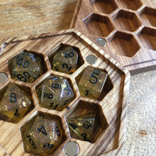 Load image into Gallery viewer, Wood Honeycomb Dicebox 🐝 -  RPG Dice Set, CritKit