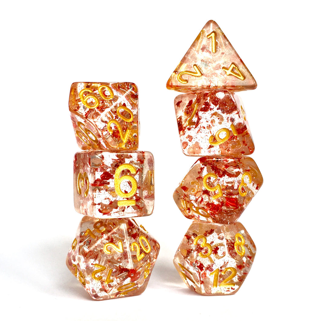 Metal Flakes - Ruby -  RPG Dice Set, CritKit
