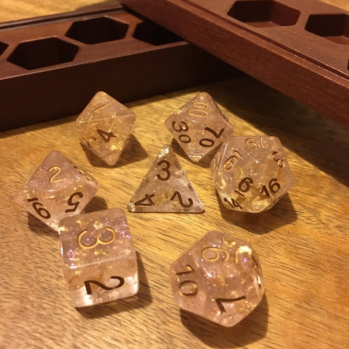 White Gold -  RPG Dice Set, CritKit