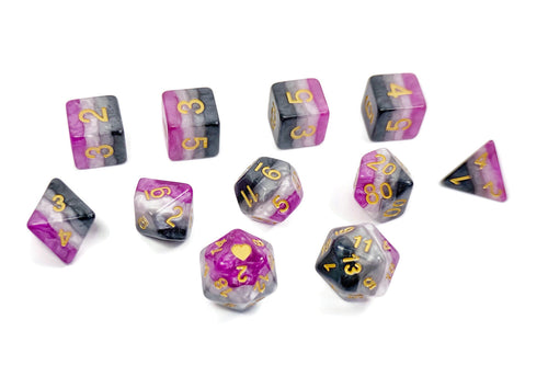 Asexual Pride - HeartBeatDice -  RPG Dice Set, CritKit