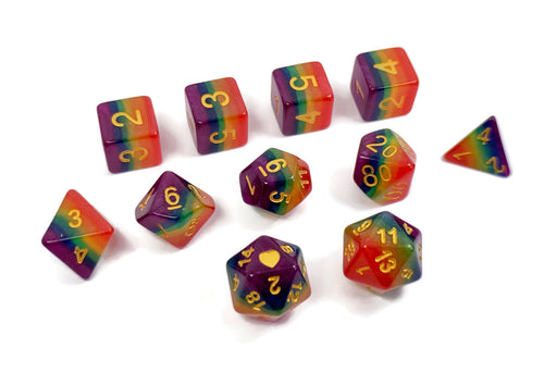 Rainbow Pride - HeartBeatDice -  RPG Dice Set, CritKit
