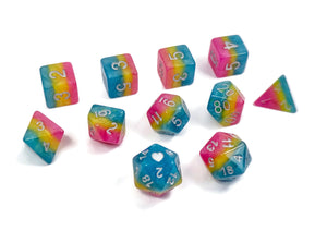 Pansexual Pride - HeartBeatDice -  RPG Dice Set, CritKit