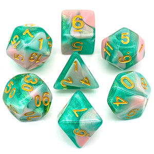 Primordial - Pink & Green -  RPG Dice Set, CritKit