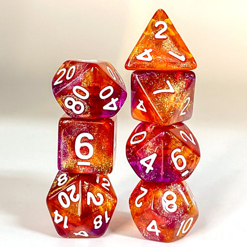 Primordial - Purple & Orange -  RPG Dice Set, CritKit
