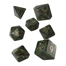 Load image into Gallery viewer, Runic Bottle-Green & Gold - Q-Workshop -  RPG Dice Set, CritKit