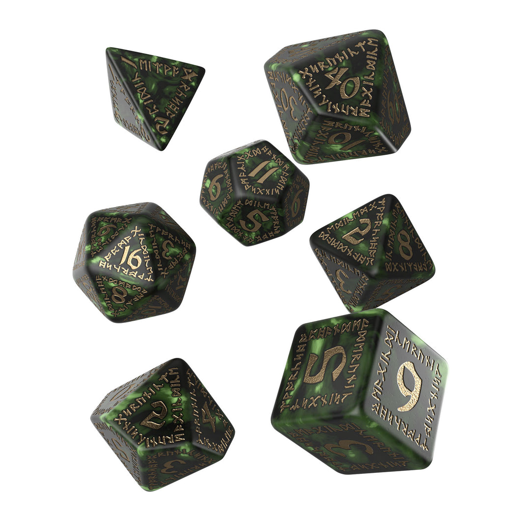 Runic Bottle-Green & Gold - Q-Workshop -  RPG Dice Set, CritKit