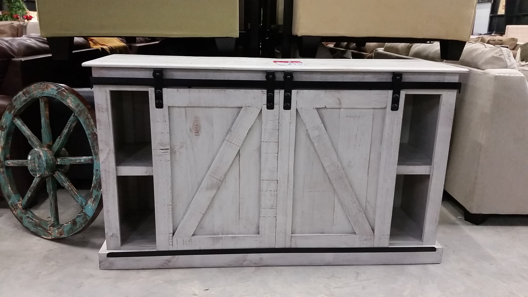 Distressed White Barn Door TV Stand
