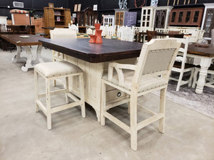 LN-KIS-691 FI Island Dining Table w/ 2 Backless Barstools and 2 Armed Barstools