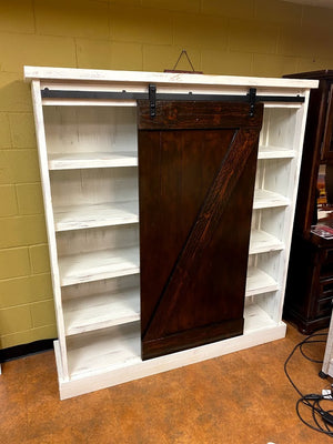 COL FI Cabinet Large Bookcase/Cabinet with Barn Door