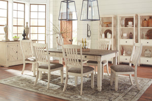 D758 FI-A Dining Table w 4 Side Chairs and a Bench
