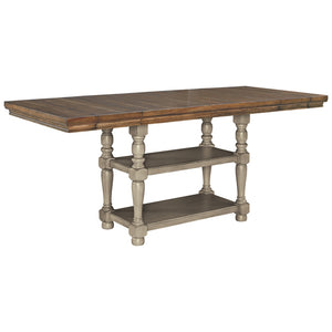D844 FI-A Rectangular Counter Extension Table w/ Bench and 4 Barstools