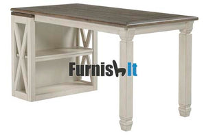 H758-25-27FIA Two tone two shelf bookcase with desk extension