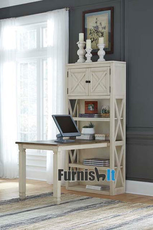 H758-25-28FIA Large beige and brown bookcase with desk extension