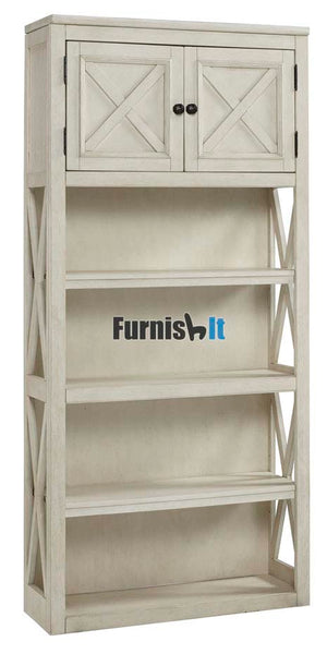 H758-28FIA Large beige Bookcase with four shelves and barnyard cabinets