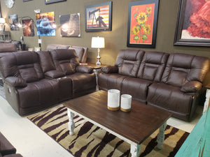 U657 Fi-A Power Reclining Top Grain Leather Sofa and Loveseat with Adjustable Headrest and Lumbar