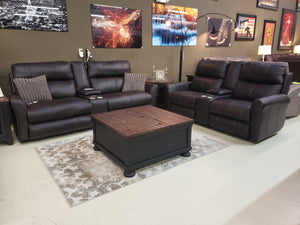 586 FI-CnJ Powered Italian Leather Voice Activated Sofa and Loveseat