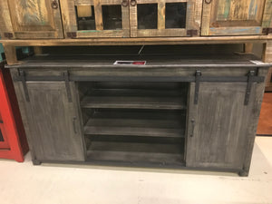 "70GlidFI  70"" Glide Door TV Stand Weathered"