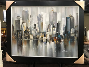 Framed Cityscape Oil on Canvas Art