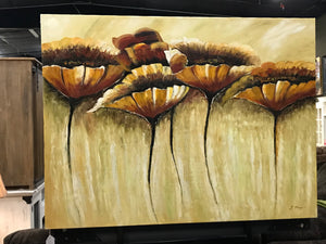 Canvas 5 Beige and Brown Flowers Oil  Art