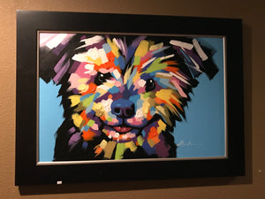 Framed Dog Face on Canvas Art