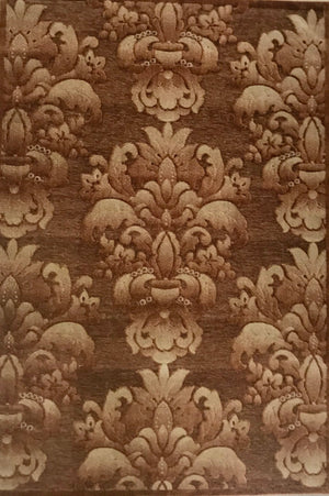 HL4169FIP Chenille Hi Low Medalions Brown Rug 5x7