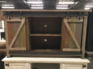 "JON981FI 60"" TV Stand with Barn Door Island"