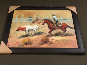 Roping Cowboy Framed Oil on Canvas Art
