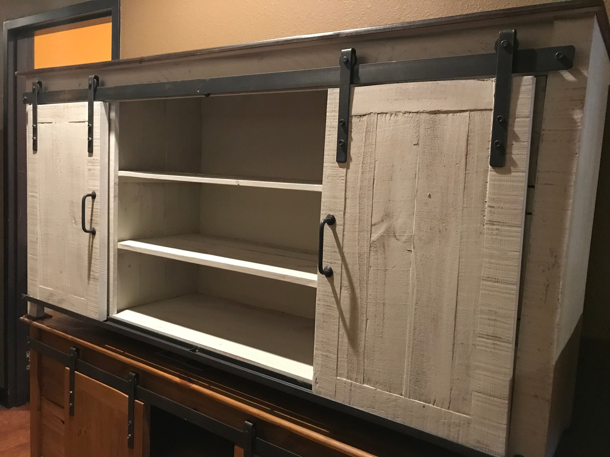 """70GlidFI 70"""" Glide Door TV Stand Distressed White With"""