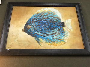 Blue Fish Framed Oil on Canvas Art