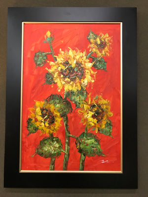 Framed Sunflowers on Red Oil on Canvas Art
