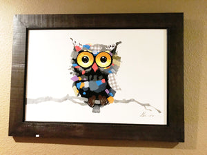 Hoot Owl Mosaic in Frame