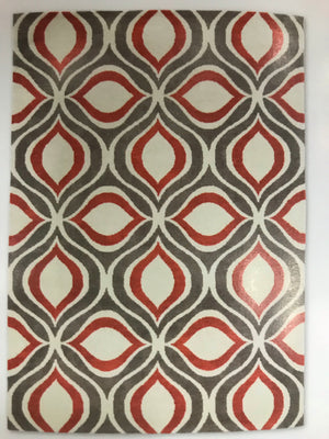 GE1768FIP  Geometric Red, Gray, and Cream Rug 5x7