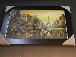 Paris with Eiffel Tower Framed Oil on Canvas Art