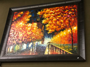 Trees of Golden Leaves Framed Oil on Canvas Art