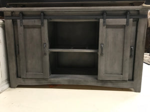 "2133FI Barndoor 60"" TV Stand with Mess Doors Gray"