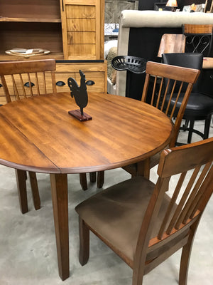 D200FI Hickory Stain Drop Leaf Table with 2 chairs