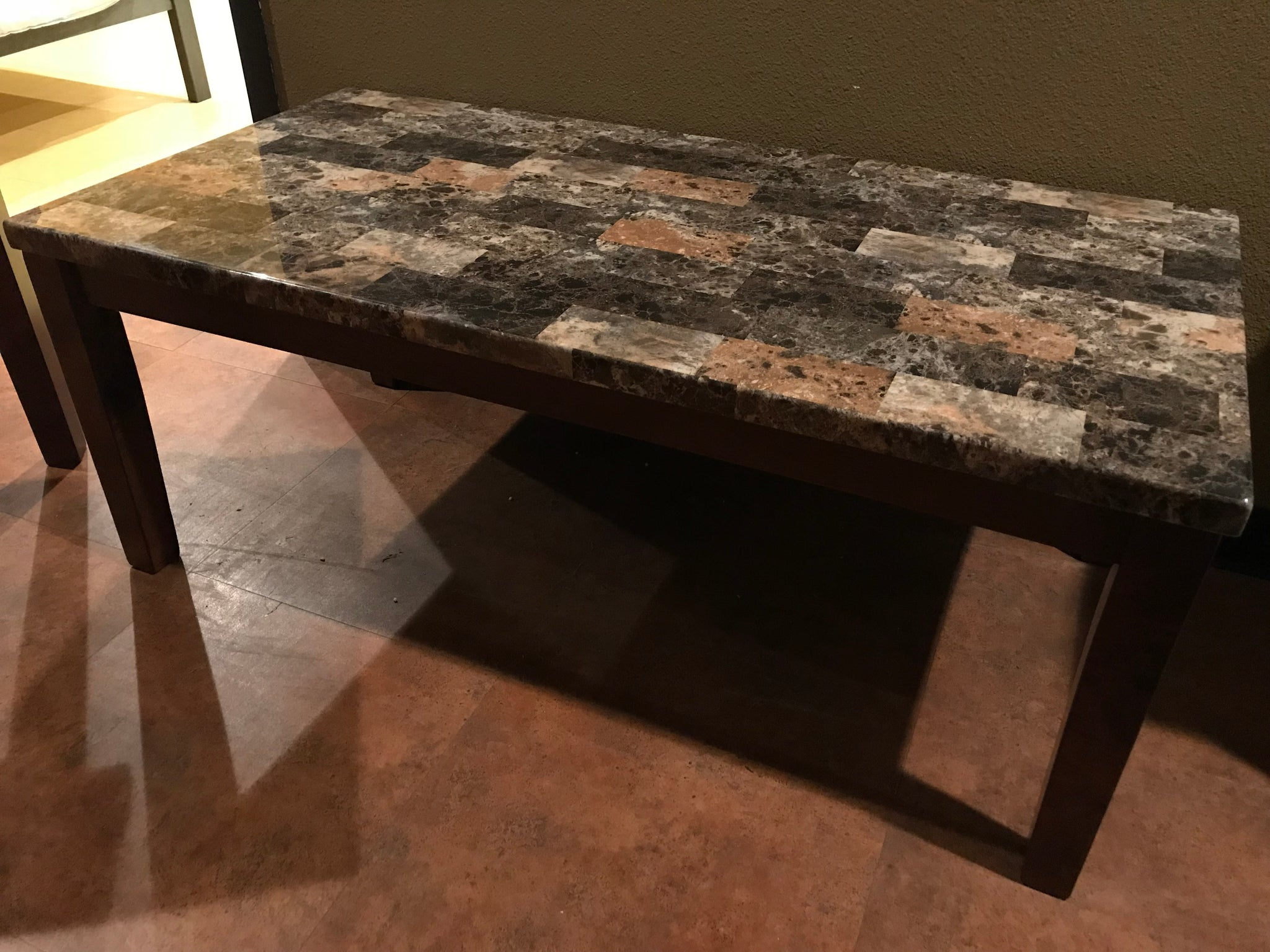 T269fi A 3 Table Set Faux Marble Brown Furnish It