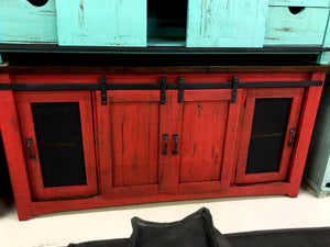 "2133FI Barndoor  70"" TV Stand with Mess Barn Red"