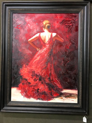 Framed Lady in Red Oil on Canvas Art