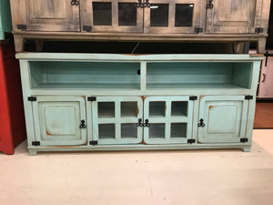 "Com19FI 72"" TV Entertainment Stand Antique Teal"