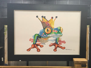 Mosaic Frog with Crown on Canvas in Frame