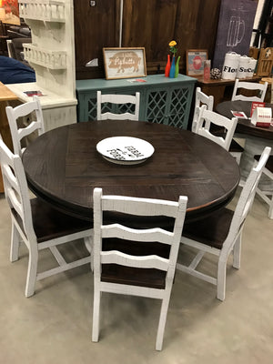 LN MES 160FI Round Pedestal Table with 6 Florence Chairs