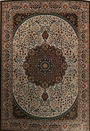 EM1368FIA Emerald Cream and Copper Rug 5x7